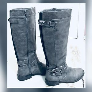 Guess Gray & Black Tall Riding Boots